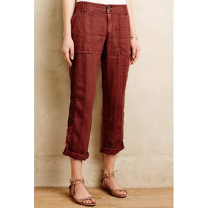 Hei Hei Maroon Linen & Lace Crop Roll Up Pants 27